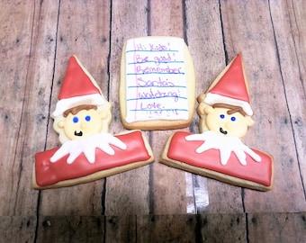 Elf Cookies - Christmas Cookies - Elf Sugar Cookies - Holiday Cookies - Christmas Elf - Cut Out Cookies - Sugar Cookies