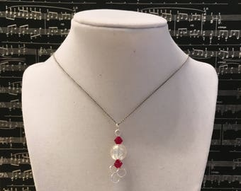 Silver and Red Crystal Necklace and Earrings Set