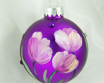 Hand Painted Ornament. Painted Ornament. Tulips. Floral Ornament. Glass Ornament. Fuschia Ornament.