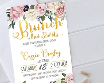 Wine Invitation, Brunch and bubbly, Champagne Invitation, bridal brunch invitation, brunch and bubbly bridal shower invitation, sign
