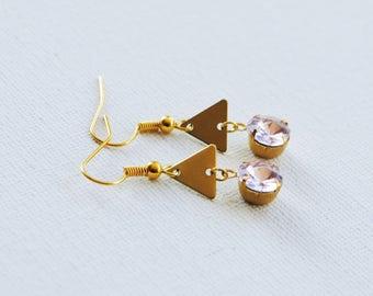 Pale Rose Jewel Earrings, Modern Earrings, Everyday Earrings, Brass, Geometric Dangle Earrings, Triangle earrings