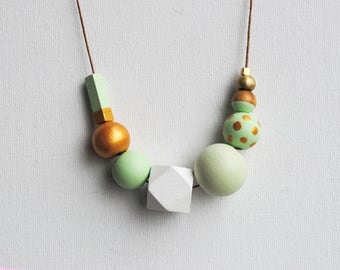 Handpainted Geometric Necklace, Boho necklace, Statement Necklace, Color block necklace, Handmade necklace, Wooden necklace Polka dots