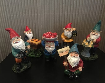 Fairy Garden | Gnome Friendly Figurines | Resin Miniature Statues | Choose 1 from 6 Different Styles | So Cute with Vibrant Colors!