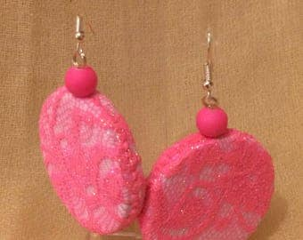 Fluorescent Pink lace earring