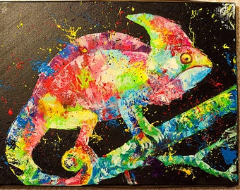 """Oil painting """"Psychedelic Chameleon"""",  Drawing for interior"""