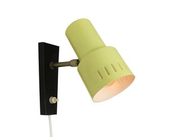 Bright yellow and black wall light, 1960s
