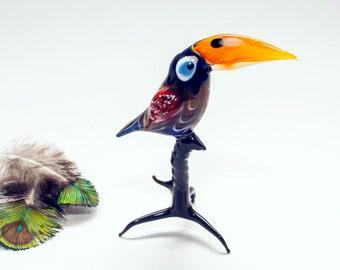 Glass figurine Bird murano glass animals blown glass figurines bird Glassblowing Glass sculpture Home decor Lampworking glass gift