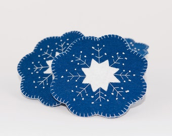 Felt snowflake coasters, Set of 6 coasters, Christmas coasters, Winter coasters, Dark blue and white coasters