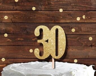 30th Birthday Topper, Number 30 cake topper, Glitter Cake Topper,  Thirty topper, thirtieth birthday cake topper
