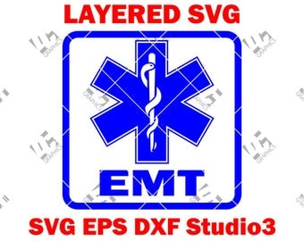 EMS Star of Life - EMT Logo 2 - Medic Alert- Cutting File in Svg, Eps, Dxf, and Studio3 - Cricut, Silhouette Cameo Studio- Instant Download