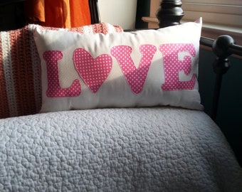 Say it Softly, Decorative Pillow, Love Pillow, Pink Polka Dot Valentine Gift for Her