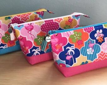 Flamingo Florida Tropical Lined Zipper Pouch in Bright Tutti Frutti Tropical Flamingo Print