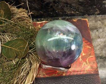 Rainbow! Rainbow Fluorite Sphere - 292g - Natural Fluorite Crystal - Crystal Ball - Fluorite Crystal Ball -  FL11