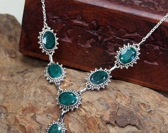 Emerald Necklace,Emerald Pendant,Genuine Emerald,Sterling silver Gemstone Necklace,Green Gemstone,Engagement Gift,Elegant X1037