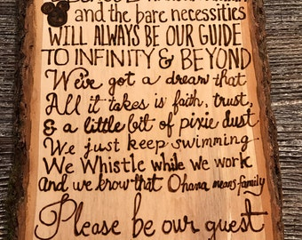 In this House we do Disney woodburned wooden sign