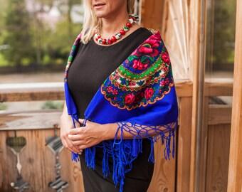 BLUE FOLK SHAWL, folk shawl, flower shawl,