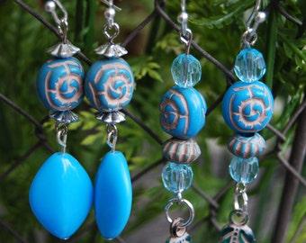 Acrylic Turquoise Dangle Earrings