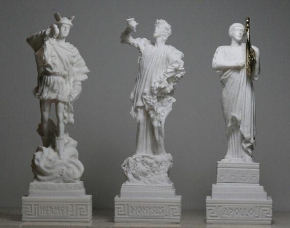 3 Greek Gods Dionysus Bacchus Hermes Apollo Alabaster Statue