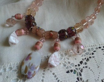 Stunning handmade glass crystal and mixed bead necklace
