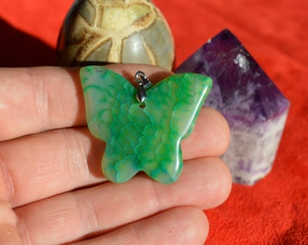 Green Agate Butterfly Pendant (P040)