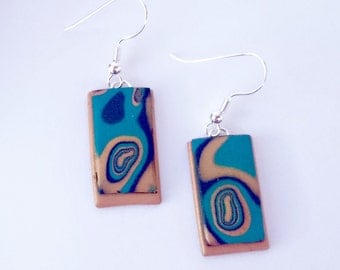 Rectangle dangle earrings_unique handmade mokume gane polymer cay jewellery