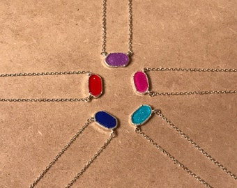 Silver Plated Sparkly Mini Pendant Geometric Necklace
