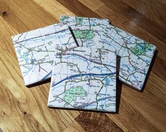 Personalised Map Ceramic Tile Coaster