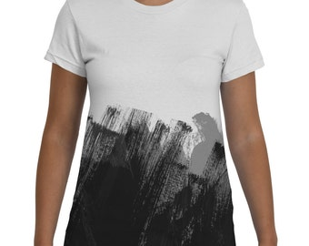 Black and White Tshirt, Womens Tee, Female Clothing, Abstract