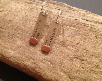 Winter Pines - Recycled Sterling Silver & Copper Earrings