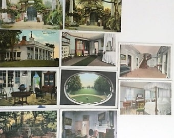 MOUNT VERNON, Washington's Mansion Interior & Tomb; Lot of 10 Real Photo Color Portfolio Postcards ~A+