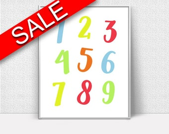 Wall Art Digits Digital Print Numbers Poster Art Digits Wall Art Print Numbers Nursery Art Numbers Nursery Print Digits Wall Decor Digits