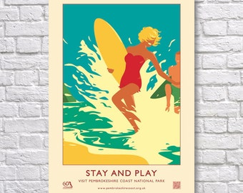 "Pembrokeshire Coast National Park ""Stay And Play"" Retro 60's Style Poster"