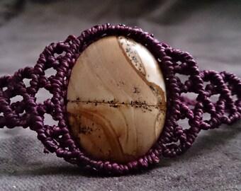 Landscape Macrame bracelet, Macrame bracelet, jasper bracelet, gemstone bracelet, jasper Jewelry, Macrame jewelry, boho, gift for her, bracelet