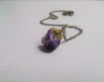 Amethyst Necklace,raw amethyst ,raw Crystal Necklace, purple gemstone,Gift for her,Healing stone,Yoga,Raw Stone , Raw Stone necklace