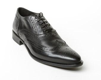 Black oxford men's shoes, leather men's shoes, rubber sole shoes, men's classic shoes
