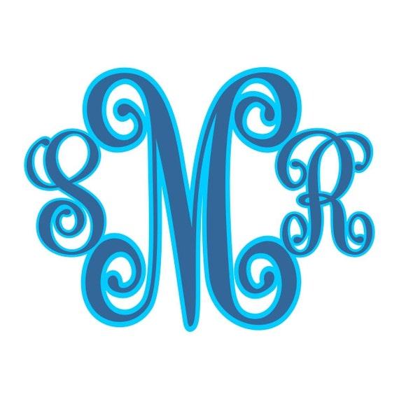 interlocking vine shadow monogram cuttable fonts designs