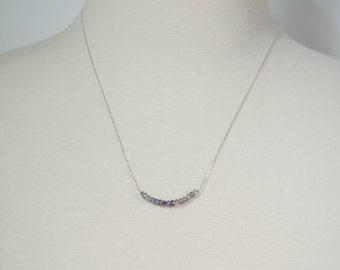 "DUSTY CORNFLOWER - Pale Periwinkle Blue Raw Gemstone Necklace, Silver 18"" chain"