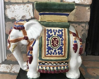 Colorful chinoiserie Accent Elephant Statue- Home decor- centerpiece