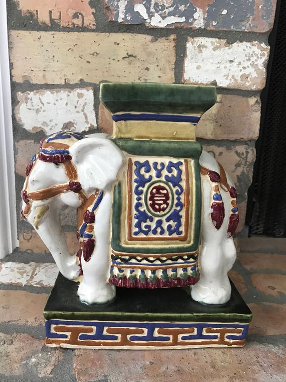 Items similar to colorful chinoiserie accent elephant statue home decor centerpiece on etsy Colorful elephant home decor