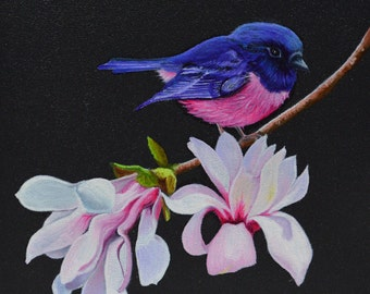 Primrose - Pink robin and magnolia flowers - Carnation Miro & flowers of magnolia - Oil painting on wood