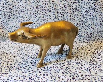 Brass oxen water buffalo figurine paper weight