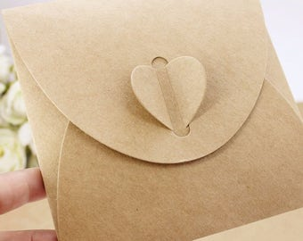 100 pieces/lot   13*13cm Vintage Square Heart Buckle CD Envelopes Kraft Paper CD Bags