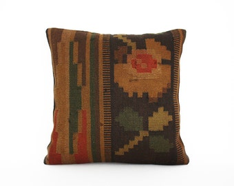 Kilim Pillow Cover - Decorative Sofa Pillows Turkish Kilim Bohemian Vintage Hand Woven Embroidered Couch Throw Pillows Accent Toss Pillow