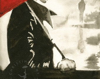 Girl with the Red Umbrella original watercolor