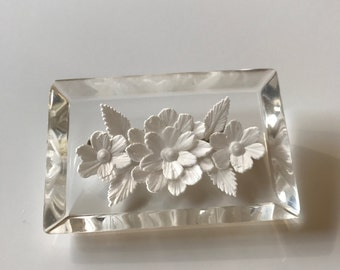 Vintage Reverse-carved Lucite Brooch, Large White Floral Clear Lucite Oblong Brooch, Wedding Gift, Gift for Her