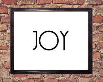 Joy word art, Black and white, home decor, Wall art, Word art, Digital download, Printable art