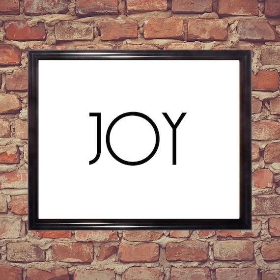 Joy Word Art Black And White Home Decor Wall Art Word Art