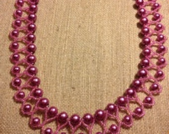 Pink Beaded Necklace with Pink Glass Pearls