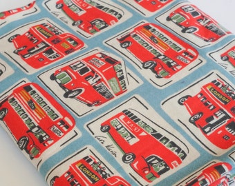 100% Brushed Cotton Fabric Vintage Cath Kidston Retro Red London Bus on Light Blue