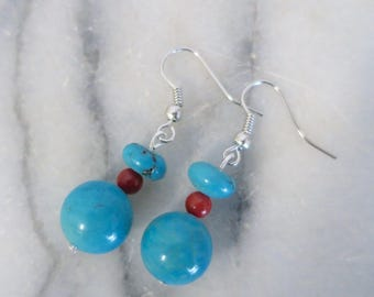 Turquoise earrings with red beads